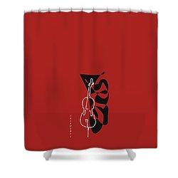 Cello In Orange Red Shower Curtain by David Bridburg