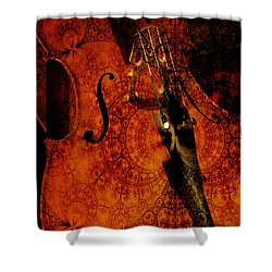 Cellos At Midnight Shower Curtain by Michele Cornelius