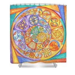 Celtic Crescents Rainbow Shower Curtain