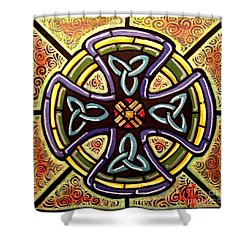 Shower Curtain featuring the painting Celtic Cross 2 by Jim Harris