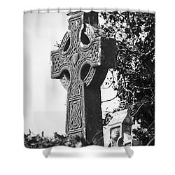 Celtic Cross At Fuerty Cemetery Roscommon Ireland Shower Curtain