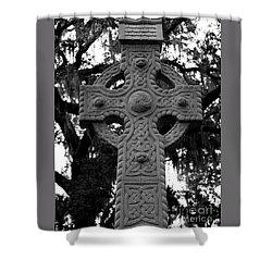 Celtic Cross In Emmet Park Shower Curtain by Carol Groenen