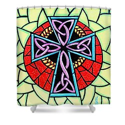 Shower Curtain featuring the painting Celtic Cross by Jim Harris