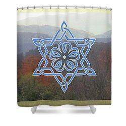 Celtic Hexagram Rose In Blue Shower Curtain