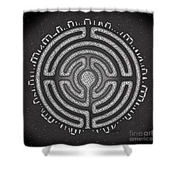 Shower Curtain featuring the mixed media Celtic Labyrinth Mandala by Kristen Fox