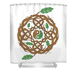 Celtic Nature Yin Yang Shower Curtain by Kristen Fox
