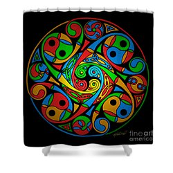 Celtic Stained Glass Spiral Shower Curtain