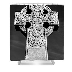 Celtic Stone Cross At Sunset Shower Curtain by Gary Whitton