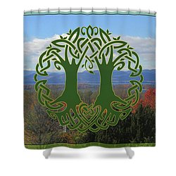 Celtic Wedding Tree In Green Shower Curtain