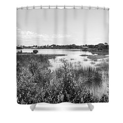 Shower Curtain featuring the photograph Cemetary Point Boardwalk by Howard Salmon