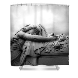 Shower Curtain featuring the photograph Cemetery Grave Mourner Black White Surreal Coffin Grave Art - Angel Mourner Across Rose Coffin by Kathy Fornal