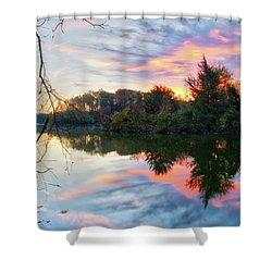 Shower Curtain featuring the photograph Centennial Lake At Sunrise by Mark Dodd