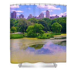 Central Park And Lake, Manhattan Ny Shower Curtain