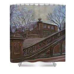 Central Park Bethesda Staircase Shower Curtain by Anita Burgermeister