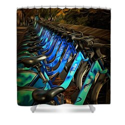Shower Curtain featuring the mixed media Central Park Bikes by Trish Tritz