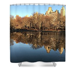 Shower Curtain featuring the photograph Central Park City Reflections by Madeline Ellis