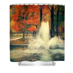 Central Park In Autumn Shower Curtain by Gail Kirtz