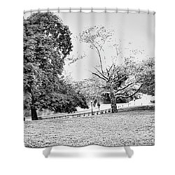 Shower Curtain featuring the photograph Central Park In Black And White by Madeline Ellis