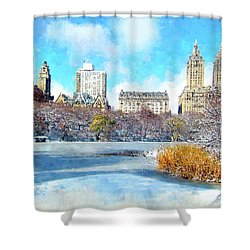 Shower Curtain featuring the digital art Central Park In Winter by Kai Saarto