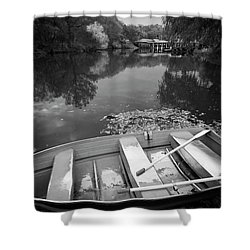 Central Park Rowboat Black And White Version Shower Curtain