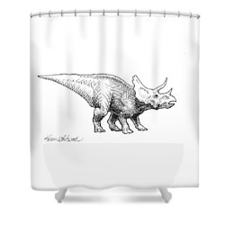Shower Curtain featuring the drawing Cera The Triceratops - Dinosaur Ink Drawing by Karen Whitworth