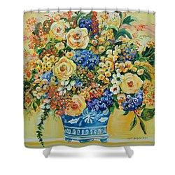 Ceramic Blue Shower Curtain by Alexandra Maria Ethlyn Cheshire