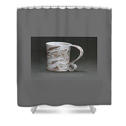 Ceramic Marbled Clay Cup Shower Curtain by Suzanne Gaff