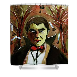 Shower Curtain featuring the painting Cereal Killers - Count Chocula by eVol i
