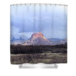 Shower Curtain featuring the painting Cerro Castellan And Mule Ears  by Dennis Ciscel