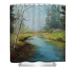 Cerulean Blue Stream Shower Curtain