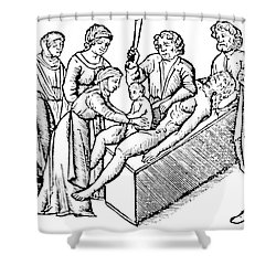 Cesarean Section 16th Century Shower Curtain by Science Source