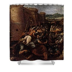 Cesari Giuseppe St Clare With The Scene Of The Siege Of Assisi Shower Curtain by Giuseppe Cesari