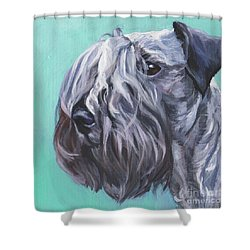 Shower Curtain featuring the painting Cesky Terrier by Lee Ann Shepard