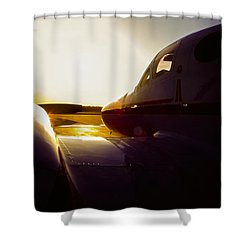 Cessna 421c Golden Eagle IIi Silhouette Shower Curtain by Greg Reed