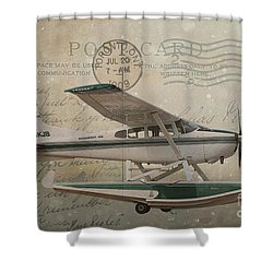 Cessna Skywagon 185 On Vintage Postcard Shower Curtain