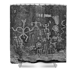 Shower Curtain featuring the photograph Chaco Canyon Petroglyphs Black And White by Adam Jewell