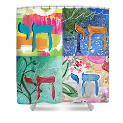 Chai Collage- Contemporary Jewish Art By Linda Woods Shower Curtain