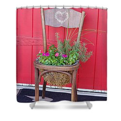 Shower Curtain featuring the photograph Chair Planter by Frank Stallone