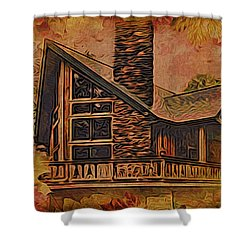 Shower Curtain featuring the digital art Chalet In Autumn by Kathy Kelly
