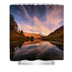 Chalet With An Autumn View Shower Curtain