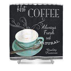 Shower Curtain featuring the painting Chalkboard Retro Coffee Shop 1 by Debbie DeWitt