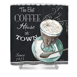 Shower Curtain featuring the painting Chalkboard Retro Coffee Shop 2 by Debbie DeWitt