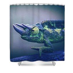 Chamaeleo Jacksonii Shower Curtain by Sharon Mau
