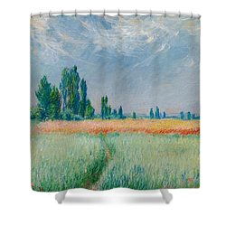 Shower Curtain featuring the painting Champ De Ble by Claude Monet