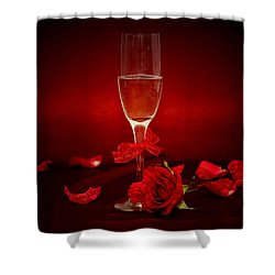 Champagne Glass With Red Roses And Petals Shower Curtain
