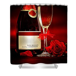 Champagne With Red Roses And Petals Shower Curtain