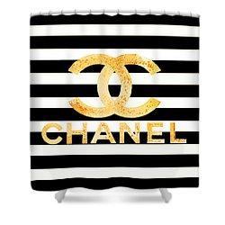 Chanel Logo Yellow Shower Curtain