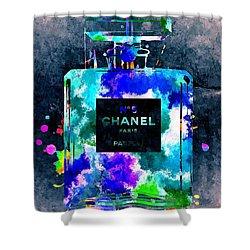 Chanel No 5 Dark Grunge Shower Curtain by Daniel Janda