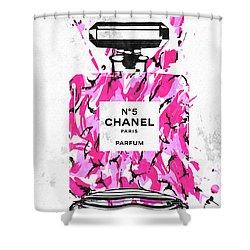 Chanel No. 5 Pink Army Shower Curtain by Daniel Janda