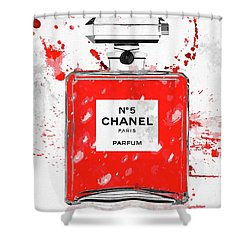 Chanel No 5 Red Shower Curtain